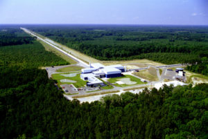 The LIGO Laboratory operates two detector sites, one near Hanford in eastern Washington, and another near Livingston, Louisiana. This photo shows the Livingston detector site. Image Courtesy Caltech/MIT/LIGO Laboratory.