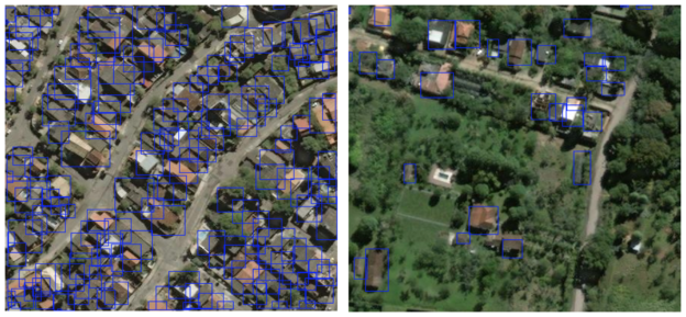 Figure 3: SpaceNet 3-band training images with ground-truth building footprints converted to minimum enclosing rectangles.