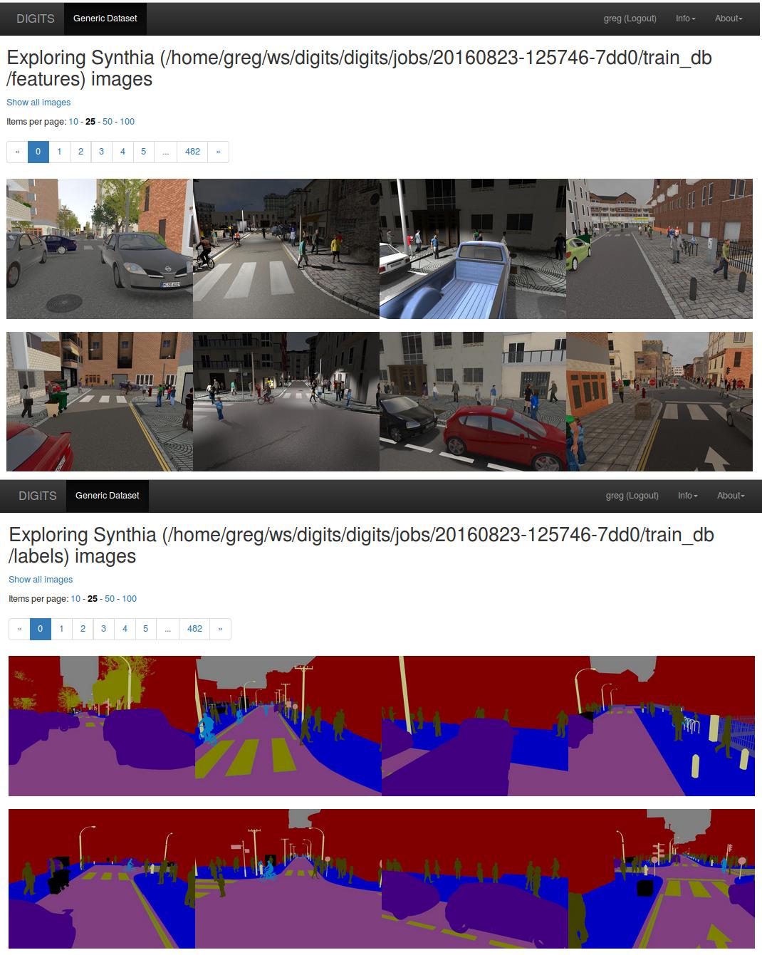 Figure 10: Database exploration in DIGITS. Top: input images. Bottom: labels.