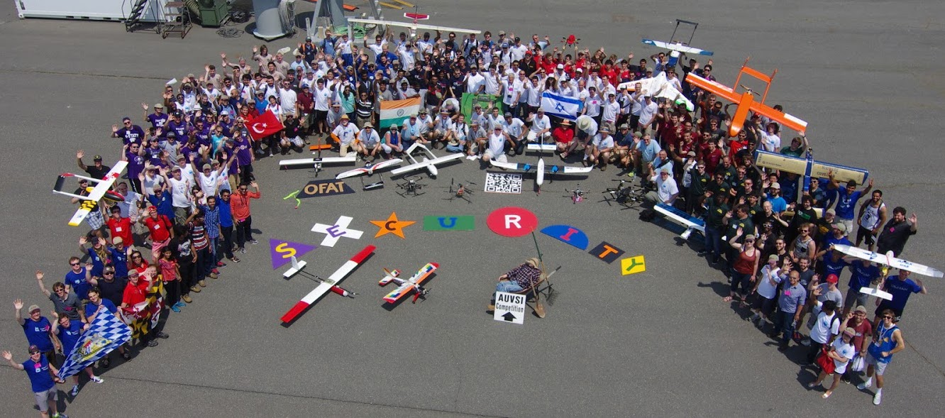 Figure 1: Teams competing at AUVSI SUAS 2015. The ground targets can be seen in front of the teams. Courtesy of the AUVSI Seafarer Chapter.