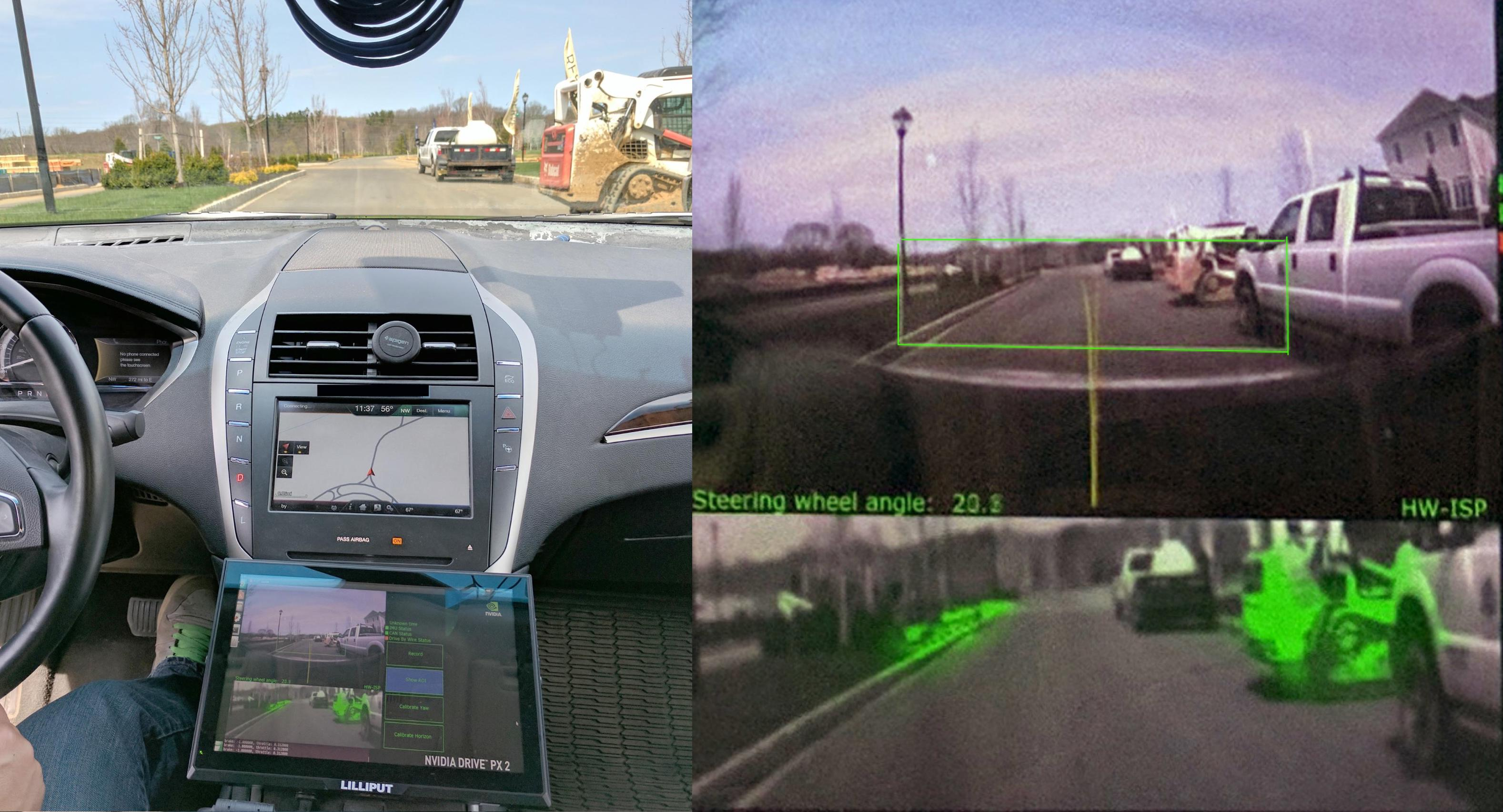 Figure 3. View from inside our test car. The right image is a blowup of the monitor in the left image.