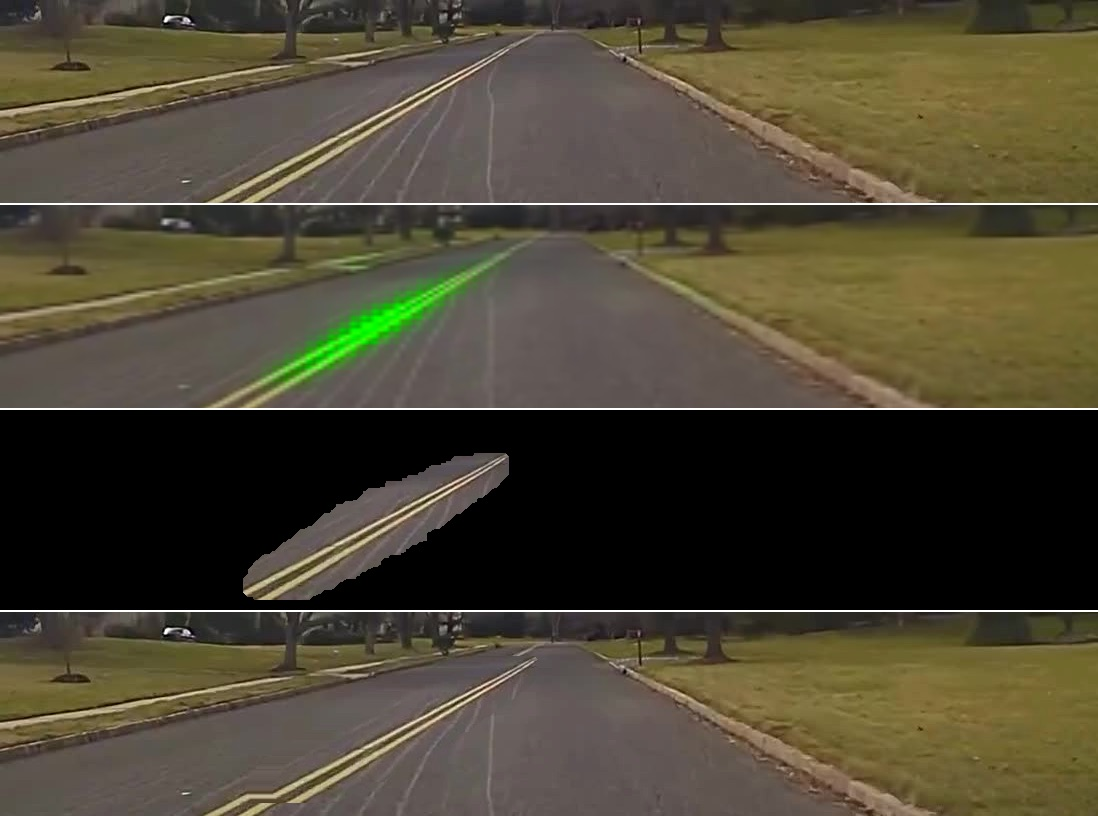 Figure 4. Images used in experiments to show the effect of image-shifts on steer angle.