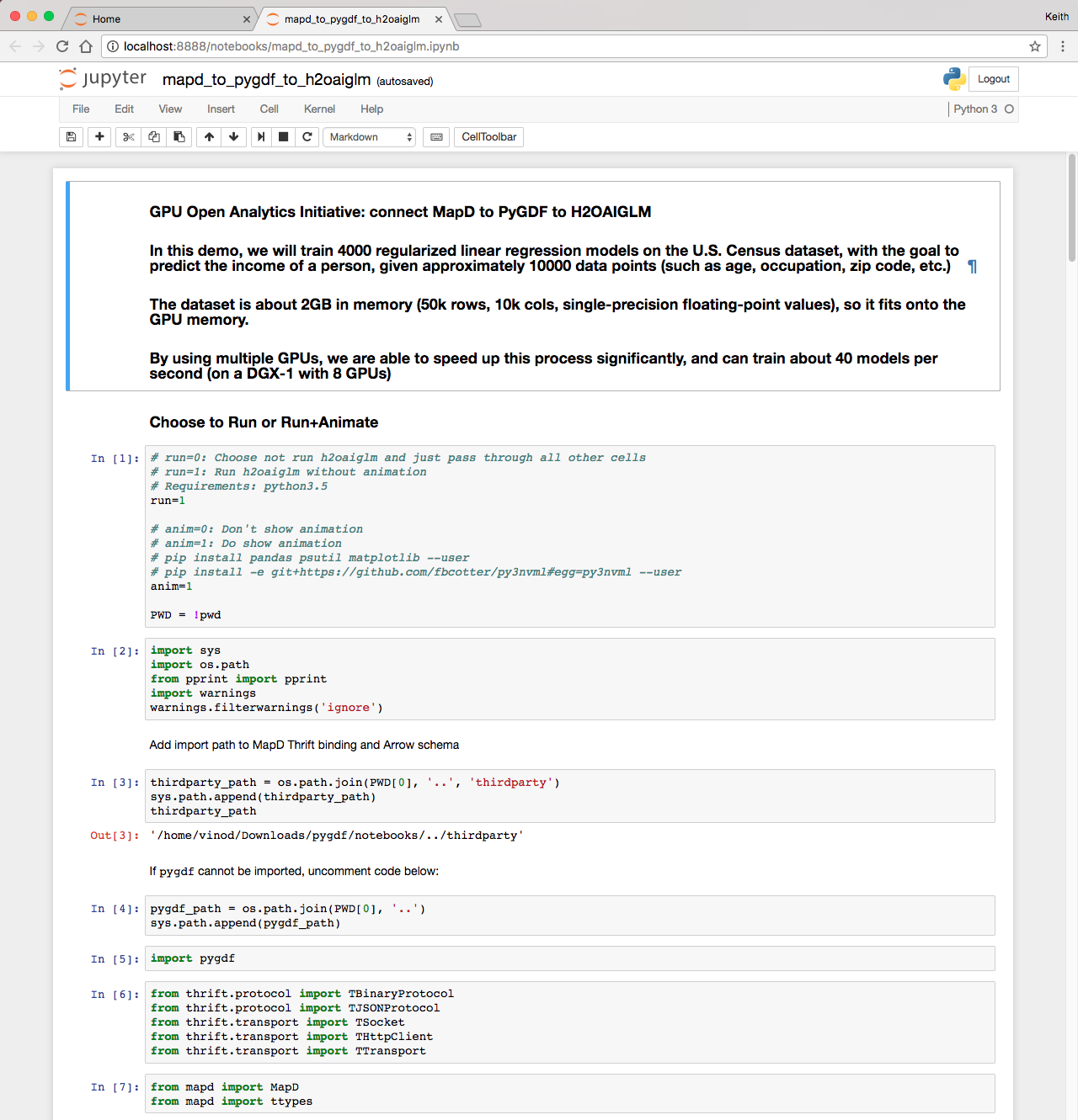 Figure 3: The GPU Open Analytics Initiative (GOAI) demo Python notebook running in a browser.