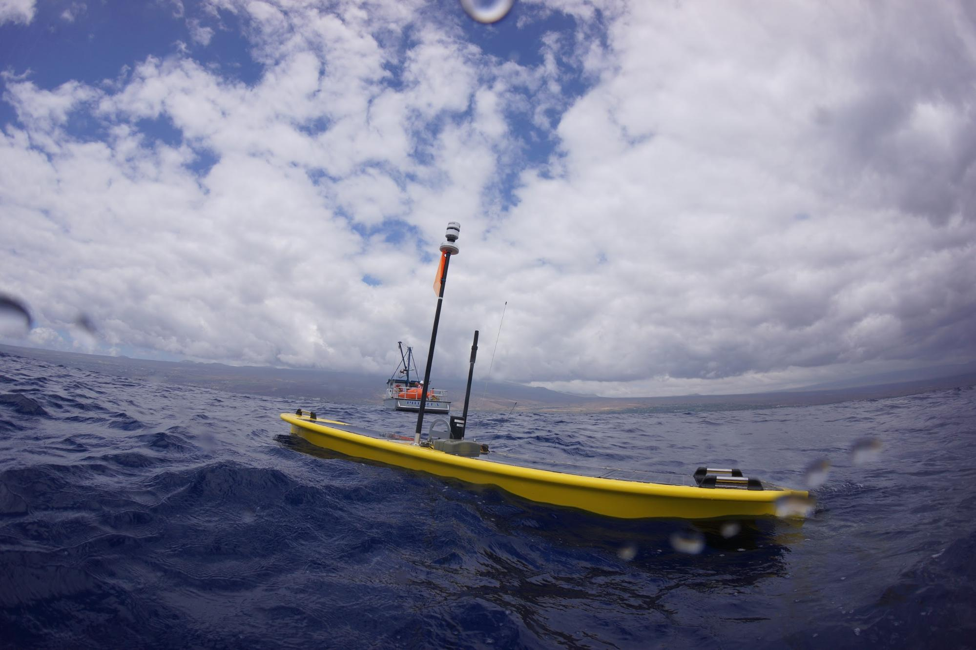 Figure 1. The regenerative wave- and solar-powered Wave Glider by Liquid Robotics is capable of traversing oceans autonomously with Jetson on board for low-power vision and AI processing.