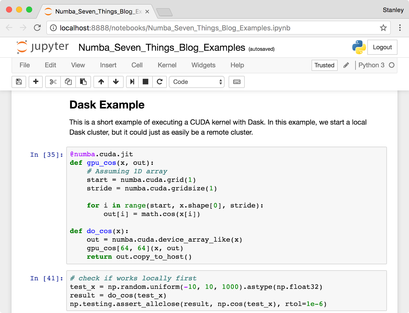 Screenshot of the Jupyter Notebook used in this post showing some CUDA Python code.