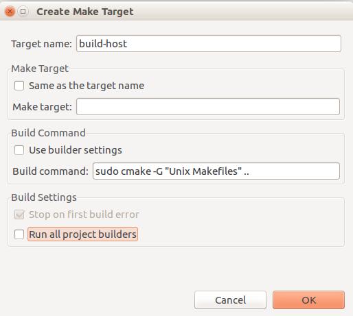Figure 4. The Create Make Target configuration window.