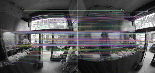 Figure 4: Feature correspondences determined by brute force matching using the distance between key point descriptors (Left: Camera1, Right: Camera 2).