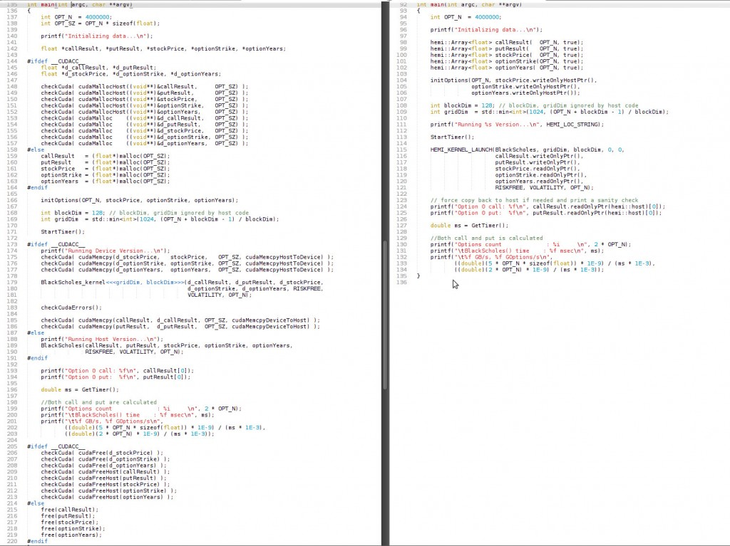 Portable (between compilers and devices) CUDA code without (left) and with (right) Hemi.