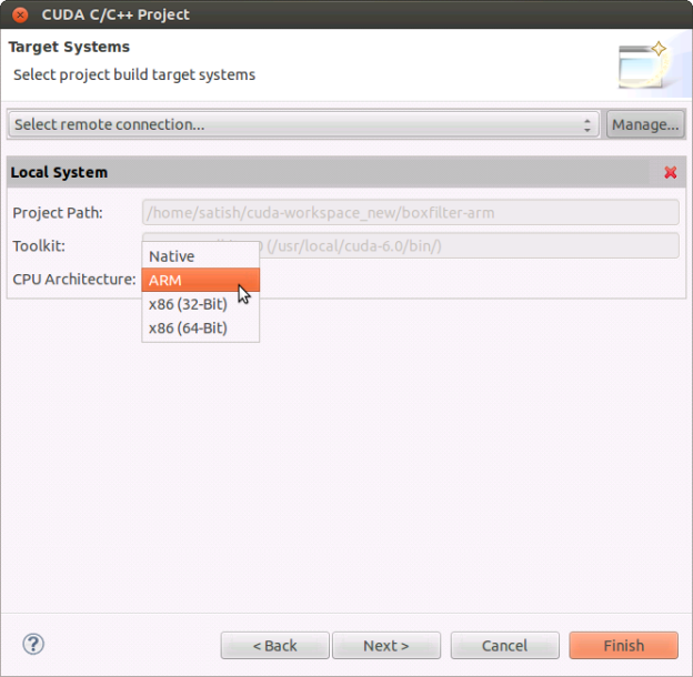 nsight_arm_cross_compiler_selection