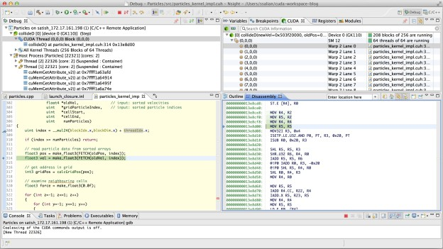 Nsight Eclipse Edition Debugger UI perspective, showing assembly code stepping.