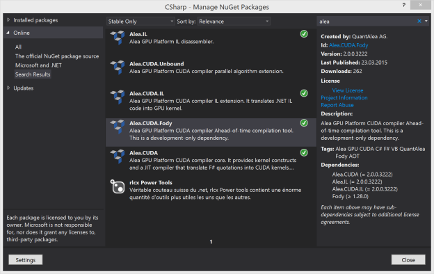 Figure 1: Alea GPU Nuget packages.