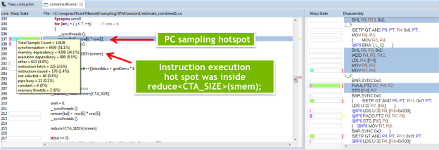 Figure 3: New in CUDA 7.5, instruction-level-profiling pinpoints specific lines of code that are hotspots.