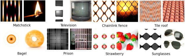 Figure 3: Images produced by an Innovation Engine that look like example target classes. In each pair, an evolved image (left) is shown with a real image (right) from the training set used to train the deep neural network that evaluates evolving images.