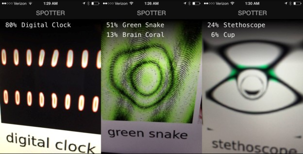 "Figure 4: A colleague pointed an image recognition iPhone app powered by Deep Learning at our ""fooling images"" displayed on a computer screen and the iPhone/app was equally fooled! That demonstrates that fooling images are robust and generalize across different lighting conditions, angles, camera lenses and networks. Image credit: Dileep George."