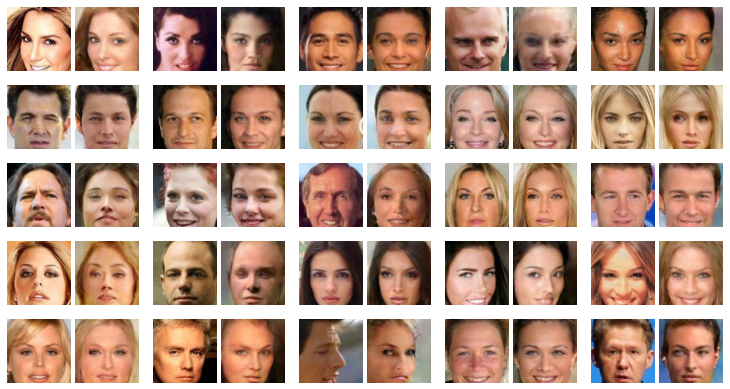 Figure 4: Each pair of images shows an image from the dataset and its reconstruction after going through Generative Adversarial Networks E and G. 25 images from the dataset were used. Images were not cherry picked.