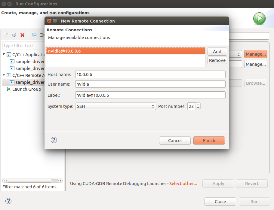 Figure 8. Specifying the network connection to your DRIVE PX.