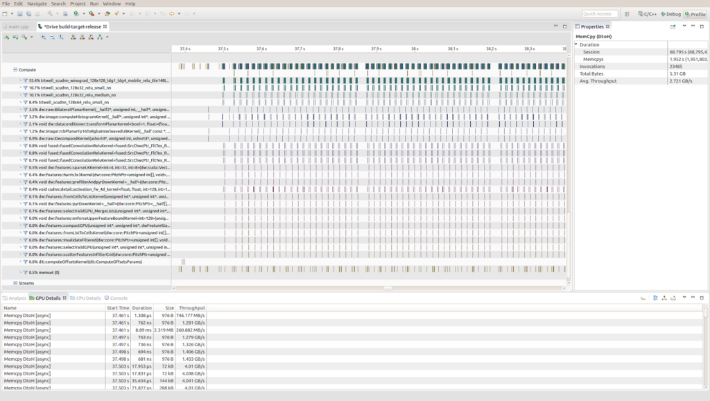 Figure 10. Using the Nsight profiler gives you the possibility to deeply analyze CUDA kernels in an intuitive way.