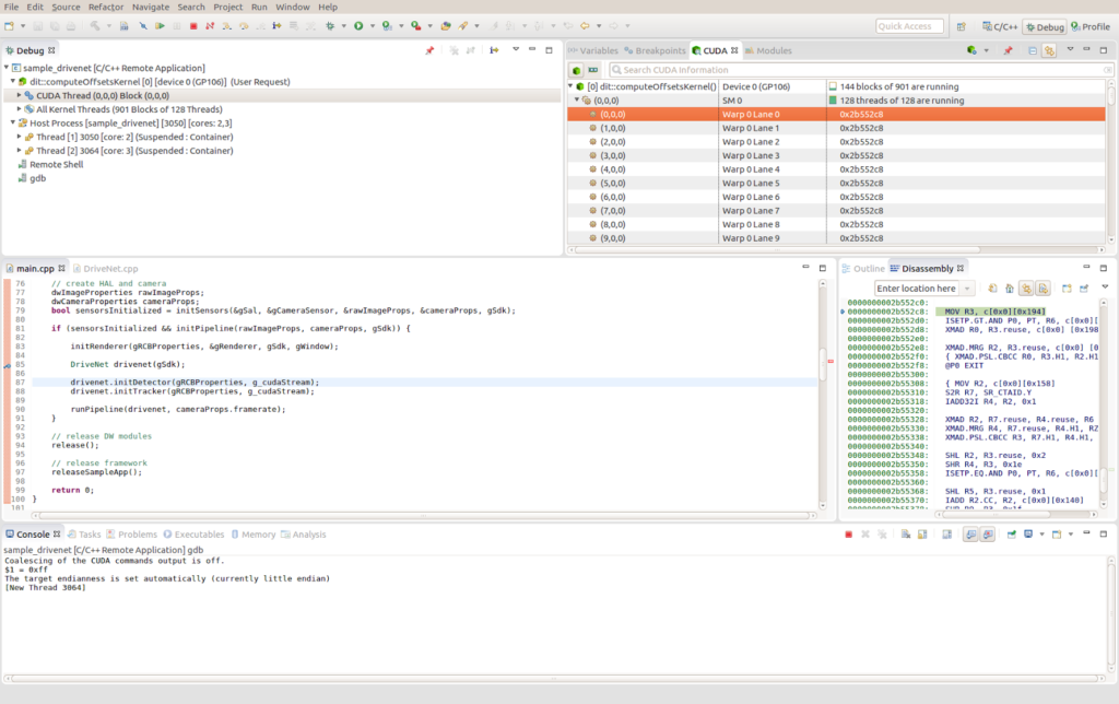 Figure 9. Remote CUDA debugging with Nsight Eclipse Edition.