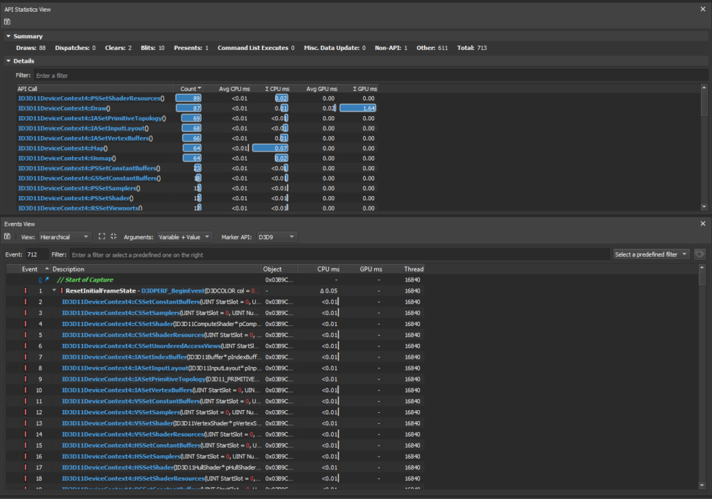 CPU and GPU times per API call range finder screenshot