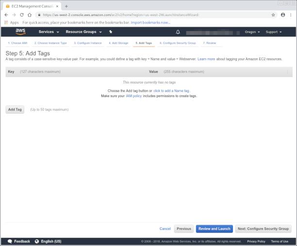 Adding tags AWS page