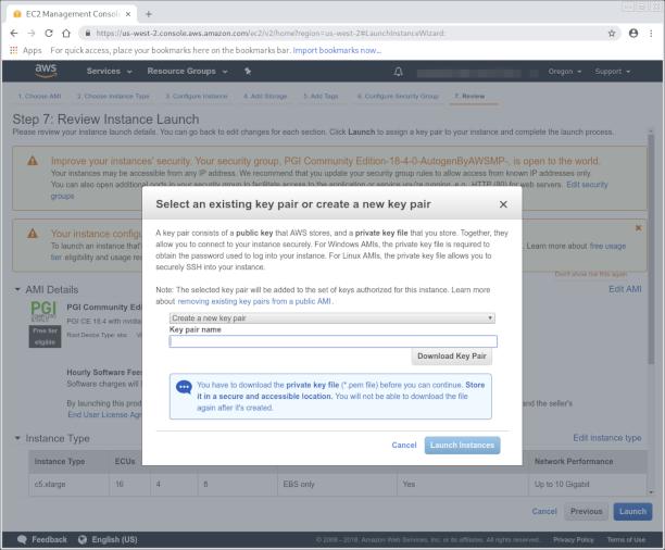 Configuring new SSH key pair screenshot
