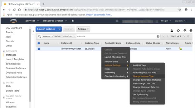 Changing instance type screenshot