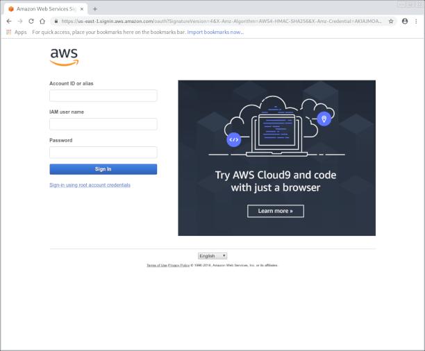 Amazon Web Portal sign in page screenshot