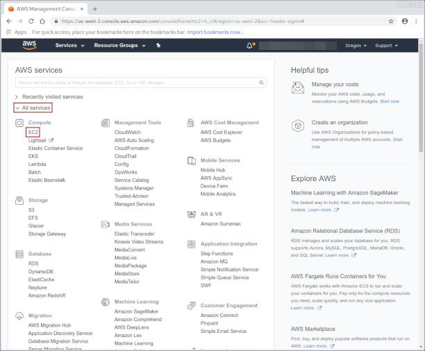 AWS console page screenshot