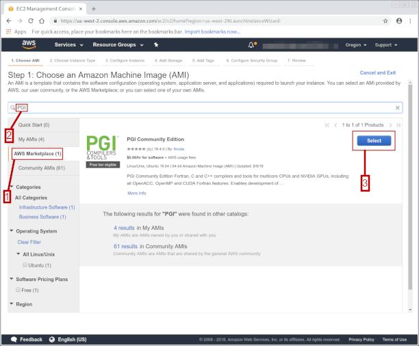Selecting the PGI Community Edition AMI screenshot
