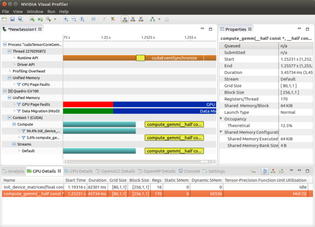 Nsight visual profiler screenshot