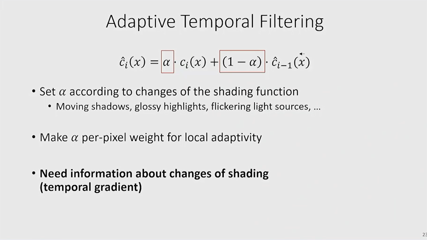 adaptive temporal filtering