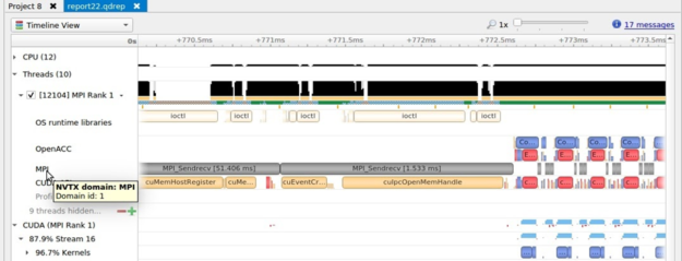 The screenshot of the Nsight Systems timeline shows MPI activity and API calls.
